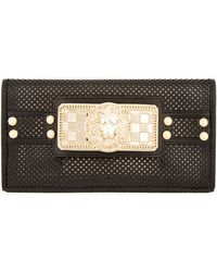 Balmain Black Perforated Lambskin Signature Hardware Clutch - Lyst