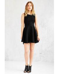 Silence + Noise Shadow-Stripe Skater Dress - Lyst