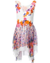 Alberta Ferretti Draped Floral Print Dress - Lyst