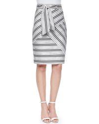 Milly Striped Tie-Waist Skirt - Lyst