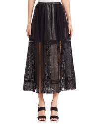 Thakoon | Crochet-inset Leather Maxi Skirt | Lyst