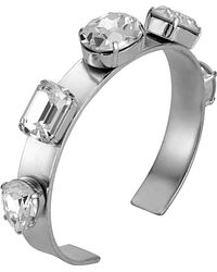 Mews London - Clear Crystal 5 Stone Silver Bangle - Lyst