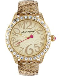 Betsey Johnson - Goldtone Shiny Metallic Leather Strap Watch - Lyst