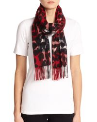 Burberry Cashmere Leopard-Print Check Scarf - Lyst