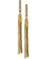 Vince Camuto Goldtone Crystal Pave Tassel Drop Earrings - Lyst