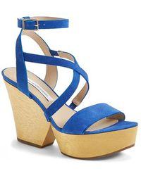Diane von Furstenberg Women'S 'Lamille' Leather Platform Wedge Sandal - Lyst