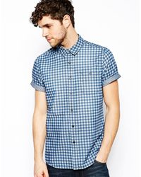 Asos Denim Shirt in Short Sleeve with Gingham Check - Lyst