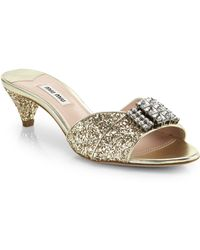 Miu Miu Jeweled Glitter Slides - Lyst