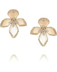 Roberto Cavalli Lotus Flower Goldtone Swarovski Crystal Earrings - Lyst