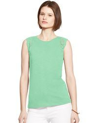 Lauren by Ralph Lauren Sleeveless Lace-Trim Top - Lyst