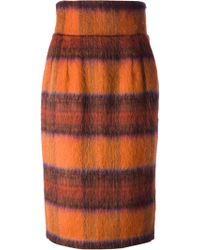 Stella Jean Checked Highwaist Midi Straight Skirt - Lyst