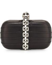 Alexander McQueen Chain-trim Skull-clasp Box Clutch Bag - Lyst