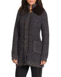 Tory Burch Brynn Furcollared Sweater Jacket - Lyst