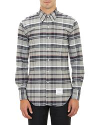 Thom Browne Plaid Oxford Cloth Shirt - Lyst