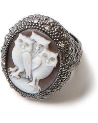 Amedeo - Three Owl White Diamond Ring - Lyst