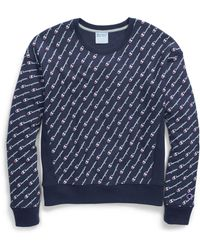 Champion - Life® Reverse Weave® Crew, All-over Logo - Lyst