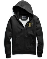 Champion - Life® Super Fleece 2.0 Full Zip Hood, Metallic Gold C Logo - Lyst