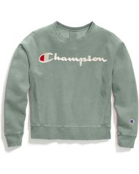 Champion - Life® Garment-dyed Reverse Weave® Crew, Embroidered Logo - Lyst
