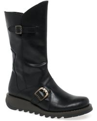 Fly London - Mes 2 Womens Leather Calf Wedge Heel Biker Boots - Lyst
