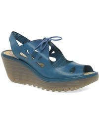 Fly London - Blue Leather 'yend' High Heeled Wedge Sandals - Lyst