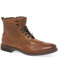 Bugatti - Vancouver Mens Leather Military Brogue Ankle Boots - Lyst