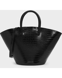 Charles & Keith - Croc-effect Large Trapeze Tote - Lyst