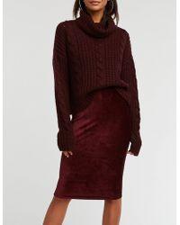 0fbd11961 Lyst - Charlotte Russe Windowpane Bodycon Midi Skirt in Red