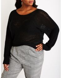 Lyst Charlotte Russe Plus Size Distressed Cable Knit Sweater In Black