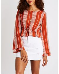 Charlotte Russe - Striped Bell Sleeve Top - Lyst