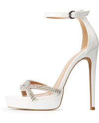 6787ff2a38 Lyst - Charlotte Russe Crystal Ankle Strap Sandals in Natural