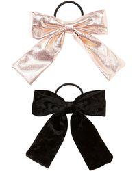 Charlotte Russe - Metallic Bow Detailed Hair Ties - 2 Pack - Lyst