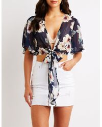 c6ea308ada5 Lyst - Charlotte Russe Embroidered Off-the-shoulder Top in White