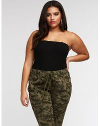 Charlotte Russe - Plus Size Ribbed Tube Bodysuit - Lyst
