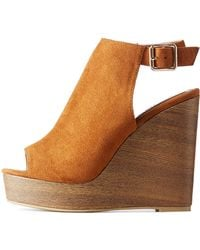 314402ca9ad6 Charlotte Russe - Open Toe Wedge Sandals - Lyst