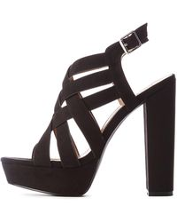 5803f3ff876 Charlotte Russe - Crisscross Ankle Strap Platform Sandals - Lyst