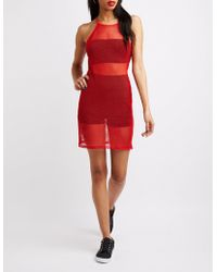 Charlotte Russe - Fishnet Bodycon Dress - Lyst