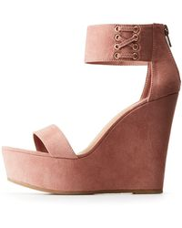 3bdb0df6b5c4 Charlotte Russe - Bamboo Lace Up Ankle Strap Wedges - Lyst