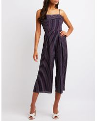 a751783e817e Lyst - Ashley Stewart Halter Striped Jumpsuit in Blue