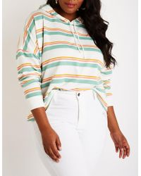 Charlotte Russe - Plus Size Striped Crop Hoodie - Lyst