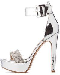 b174d806b39 Lyst - Charlotte Russe Bamboo Metallic Platform Sandals in White