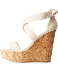 5f0039de4cf5 Lyst - Charlotte Russe Bamboo Floral Espadrille Wedge Sandals in White