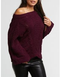 Charlotte Russe - Chenille Cable Knit Pullover Sweater - Lyst