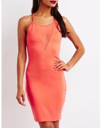 Charlotte Russe - Mesh Inset Bodycon Dress - Lyst