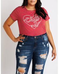 586a5b6b272 Charlotte Russe - Plus Size Striped Chill Out Tee - Lyst
