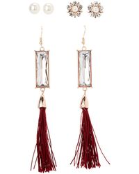 Charlotte Russe - Embellished Stud & Tassel Earrings - 3 Pack - Lyst