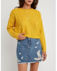 Charlotte Russe - Cable Knit Pullover Sweater - Lyst