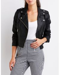 Charlotte Russe - Faux Leather Moto Jacket - Lyst