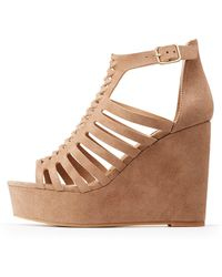 Charlotte Russe - Caged Wedge Sandals - Lyst