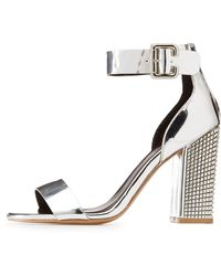 Charlotte Russe - Qupid Ankle Strap Studded Metallic Heel Sandals - Lyst