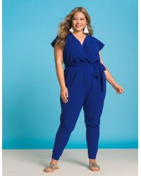 Lyst Charlotte Russe Plus Size Wrap Jumpsuit In Gray